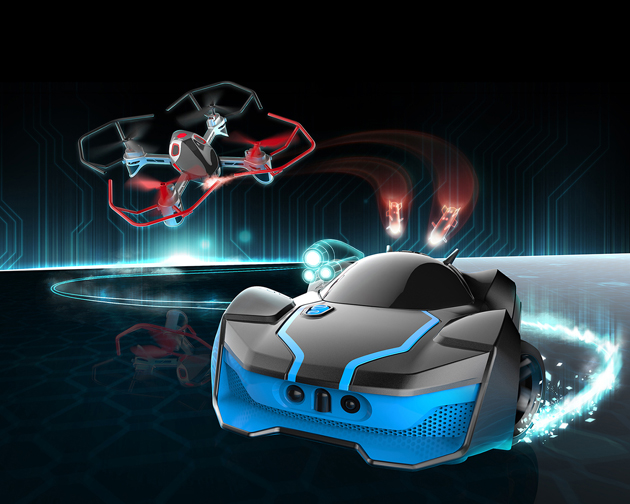 Car vs. Drone action: R.E.V. Air by WowWee
